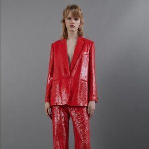 Zara Red sequined blazer